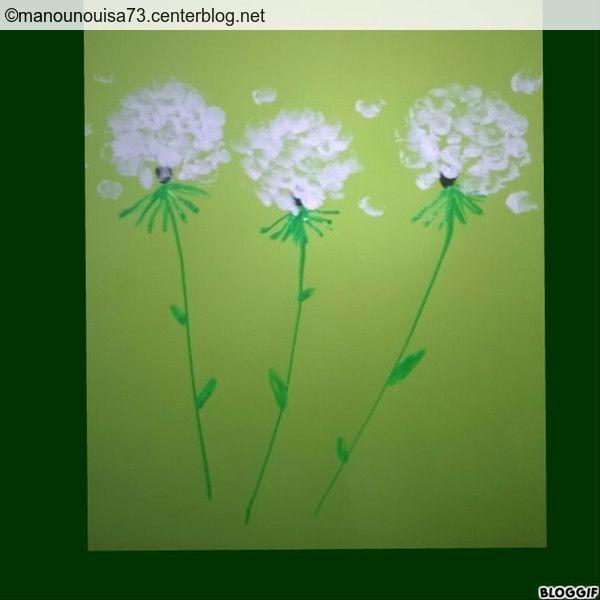 Les fleurs de pissenlit empreintes de doigts - Dessin fleur pissenlit ...
